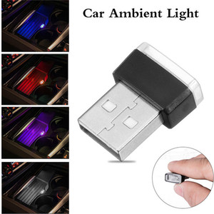 Wholesale Car Atmosphere Lights pc Mini USB LED Car Interior Light Colorful Neon Atmosphere Ambient Lamp Red Blue White Purple