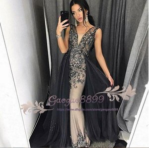 Wholesale 2019 Black Evening Dresses lace beaded crystal Mermaid Africa with overskirts prom Dress V Neck Sweep Train special Occasion Party Dresses