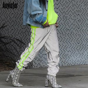 Wholesale Auyiufar Baggy Reflective Neon Strip Cargo Pants in a cage Women Elastic High Waist Wide Trousers Pantalones Pants Ladies