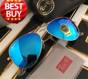 Wholesale Pilot Style Sunglasses Brand Designer Sunglasses for Men Women Metal Frame Flash Mirror Glass Lens Fashion Sunglasses Gafas de sol