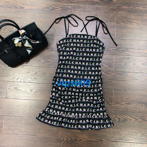Wholesale High end women dress Sling letter printing Sling Fish tail dress dresses Sling Mini Dress Sleeveless Sexy Party Dresses