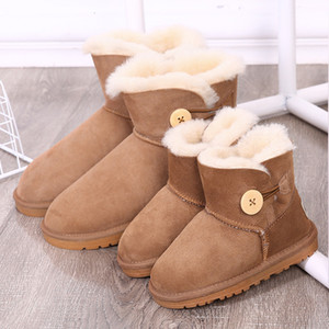 Wholesale Women Kids Sheep Leather Fur Boots with Button ,Winter Snow Boots for Mother Son Daughter,Baby Snow wear Shoes WaterproofMX190917