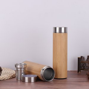 Wholesale 17oz ml Bamboo Tumbler Tea Infuser and Strainer Stainless Steel Water Bottle Double Wall Vacuum Insulated Travel Mug cup LJJA2847