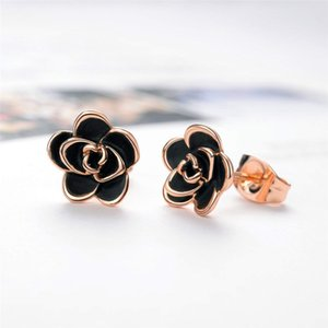 Wholesale 2019 Alloy Plated Black Rose Flower Stud Earrings for Women
