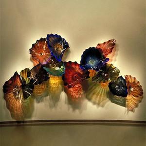 Modern Art Decoration Flower Wall Art Lamps OEM Mouth Blown Borosilicate Glass Craft Murano Glass Flower Hanging Wall Lamps