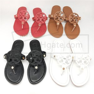 Wholesale Designer Women Sandal Summer Slippers Big Logo Toe Flat Sandals Tan Gold Flip Flop Girls Summer Footwear with Original Box Colors