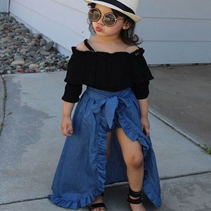 Kids Girls Clothing Sets Solid Long Sleeve Sling Bow Tie Strap Jeans Dress Kids Desinger Clothes Elastic PP Shorts Three-Piece Suit 1-5T