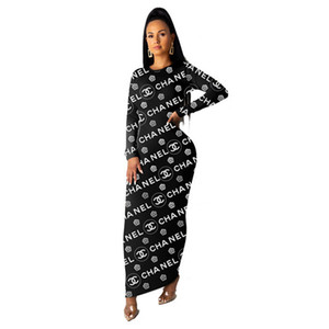 Wholesale Women designer brand maxi dresses elegant sexy club long sleeve vintage sheath column party holiday dresses fall winter clothes fashion