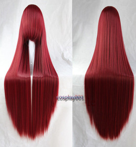Wholesale Fairy Tail Erza Scarlet Wig Long Straight Dark Red Anime Cosplay Wig Wig Cap
