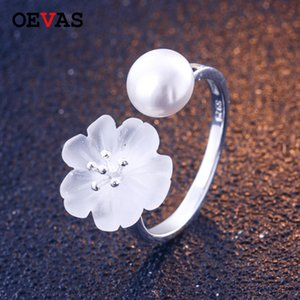 Wholesale Real Sterling silver natural crystal plum flower ring female freshwater pearl adjustable size finger rings for women jewelry
