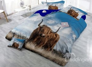 Wholesale 3D Brown Yak on Grass Field Printed Cotton Piece Bedding Sets Duvet Cover