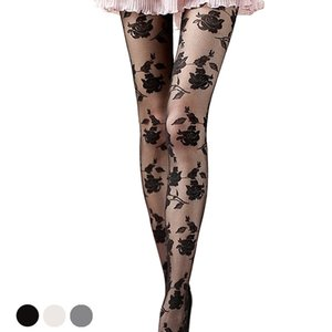 Wholesale New Women Fashion Rose Pattern stockings sexy tights for girls Lace Pantyhose Sexy See through funny female stockings high thigh