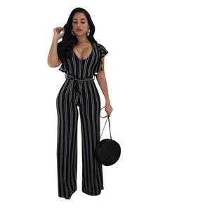Wholesale Summer Striped Jumpsuits Women Short Sleeve Ruffles One Piece Wide Leg Jumpsuit Fashion Overalls Female Sexy Rompers