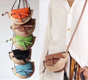 Wholesale New Unique Famous Woven mini bag Woven straw bag with genuine leather Summer Candy Colors Cross body bag The single shoulder bags