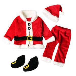 Wholesale Christmas Santa Claus For Baby Girl Boy Infant New Year Clothes Santa Christmas Tops Pants Hat Socks Outfit Set Costume J190524