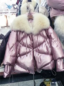 Wholesale Winter Warm Jacket Women New Shawl Big Real Fox Fur Collar Loose and Thicker Short Bright Cotton Padded Coat Basic Coats