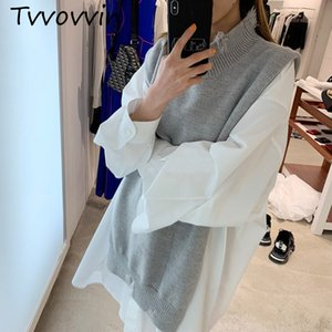 Wholesale 2019 Autumn Winter New Fashion Trend Clothing Long sleeved Solid Color Solid Color Turtleneck Vest C366