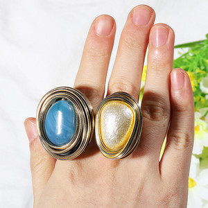 Wholesale Gothic Vintage Gold Plated Big Blue Oval Stone Rings Geometric Diamond Finger Rings Party Ball Punk Unisex Knuckle Rings
