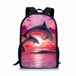 Wholesale THIKIN Pink Cartoon Dolphin Print Backpacks for Teenage Girls Animal Pattern Bookpack For Kids Women Daily High Quality