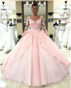Robes de Soiree Long Sleeve Quince Dresses Lace Applique Tulle Ball Gown Prom Evening Dress vestidos de fiesta Cheap Women Party Gown on Sale