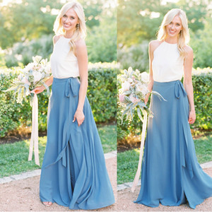 Wholesale summer bohemian boho wedding gown resale online - Summer Chiffon Bridesmaid Dresses Two Pieces Lace Up Bottoms and Top Women Sister Bohemian Boho Wedding Event Wear Bridesmaid Maxi Gowns