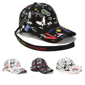 Wholesale Fashion Graffiti Printing Baseball Cap Outdoor Cotton Shade Hat For Men Women Caps Snapback Adjustable Leisure Truck Driver Cap Hats M407Y