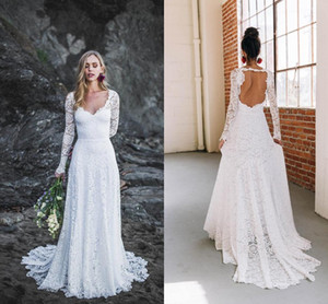 Elegant Country Long Sleeves Wedding Dresses V neck Illusion Keyhole Back Empire Boho Applique Lace Long Vestiod De Wedding Bridal Gowns on Sale