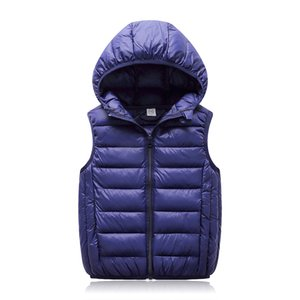 Wholesale Hooded Child Waistcoat Children Outerwear Winter Coats Kids Clothes Warm Cotton Baby Boys Girls Vest For Age Years Old