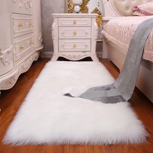 Wholesale Luxury Rectangle Soft Sheepskin Fluffy Area Rug Faux White Fur Carpet Shaggy Long Hair Solid Mat Living Room Seat Pad Home Decor Q190603