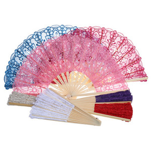 Wholesale 23cm Wedding Favor Hand Lace Fans for Guest Gift Handmade Lace Folding Hand Fans Party Wedding Decor Party Gift