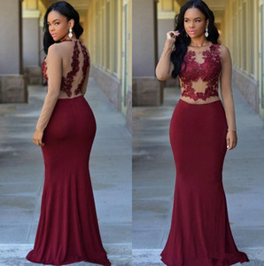 Wholesale Burgundy Sheer Long Sleeves Mermaid Formal Evening Dresses 2020 African Jewel Lace Appliques Modest Arabic Prom Party Gowns For Woman