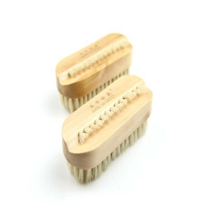 Hand Finger Brush Natural Boar Bristles Nail Brush with Wood Handle Remove Dirty Cleaning Brush Spa Massage LXL1148-1