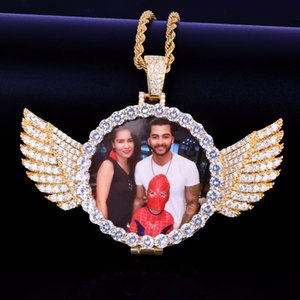 Wholesale Custom Made Photo With wings Medallions Necklace Pendant Free rope Chain Gold Silver Color Cubic Zircon Men s Hip hop Jewelry