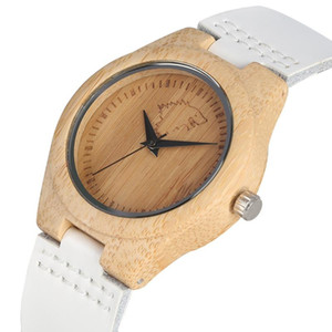 Premium Womens Wood Watches White Handmade Natural Bamboo Quartz Wristwatch Creative Genuine Leather Band Standard Analog Dial on Sale