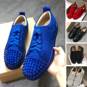 With Box Big Size 13 Red Bottom Designer Shoes 2019 Fashion Studded Spikes Low Cut Flats Casual Shoes Men Women Genuine Leather Sneakers
