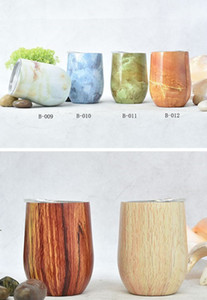 Wholesale marble tiling resale online - Marble and wood grain ml Wine Glasses wine tumblers stianless steel tumbler Double Wall coffee beer mug with Lid colors in stock