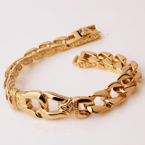 Wholesale 12mm Elegant Style Stainless Steel Golden Color Pattern Cuban Chain Handcuffs Bracelet Vintage Men s Women s Wristband Jewelry