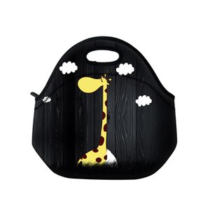 Wholesale New giraffe neoprene thermal portable lunch bag women kids baby casual bags box tote waterproof container