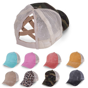 Criss Cross Ponytail Baseball Cap Tie Dye Sequins Messy Bun Hats Washed Snapback Caps Summer Sun Visor Outdoor Home Party Hat OOA8165