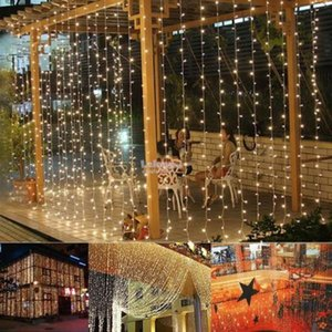 Wholesale LE LED Curtain Lights, 3*3M, 300 LED, Plug in Twinkle Lights, Warm White, Indoor Outdoor Decorative Wall Window String Lights