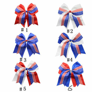Wholesale 4th of July Cheer Bow Patriotic Glitter Elastic Hair Ties Cheerleader Bow With Ponytail Holder For Girl Cheerleader DHL