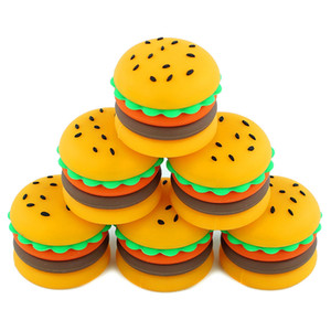 Wholesale Nonstick wax containers silicone hamburger box ml silicon container food grade jars jar oil holder for vaporizer vape dab tool storage
