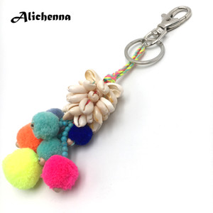 Wholesale Alichenna Keychain New Hot Women Colour Rope Shell Hair ball Fashion Exquisite Keychain Gift for Girl