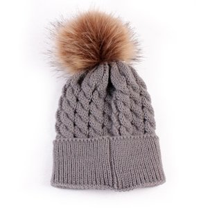 Wholesale Baby Hair Ball Cap Baby Toddler Girls Boys Warm Winter Knit Beanie Fur Pom Hat Crochet Ski Ball Cap Dropshipping