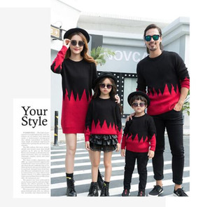 2019 New arrival Family Matching Outfits Black Red sweater Comfortable