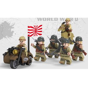 Wholesale WW2 The Sino Japanese War Japanese Army Solider MIlitary Mini Toy Figure With Weapon Building Block Brick For Boy