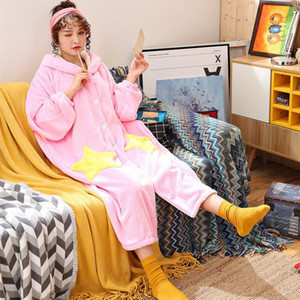Wholesale Coral Velvet Bathrobe Women Cartoon Cute Warm Hooded Robe Ladies Casual Star Flannel Kimono Dressing Gowns
