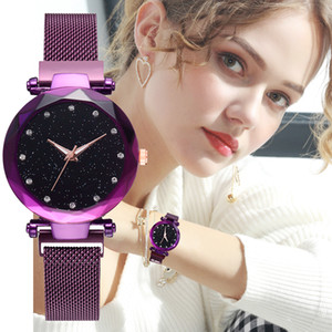 Wholesale Luxury Women Watches Rose Gold Mesh Ladies Magnetic Starry Sky Diamond Quartz Wrist Watch Best Selling Watch zegarek damski