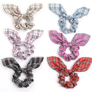 Wholesale rope bunny resale online - Ins Girl Hair Scrunchy With Rabbit Ear Student Easter Grid Hair Ring Bunny Ear Ponytail Elastic Hair Band Hairbands Ropes Colors