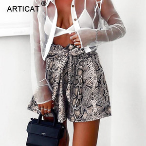 YIBO Fashion Snake Print High Waist Shorts Women Casual Elastic Bandage Wide Leg Loose Shorts Sexy Lace Up Ruffle Mini Shorts party on Sale